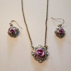 Vintage Avon NRT Pink Rose Necklace and Earrings
